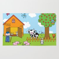 farm Area & Throw Rugs featuring Farm by oekie