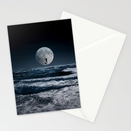 Kitesurfer in the moon in blue night sky horizon Stationery Cards