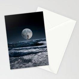 Kitesurfer in the moon in blue night sky horizon Stationery Cards