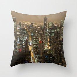 Chicago Skyline Nightshot Throw Pillow
