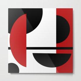 Red & Black Geometric Circle Abstraction Metal Print