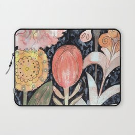 Mixed Flowers with Tulip on Black Laptop Sleeve