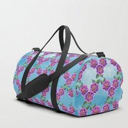 Purple Flowers Pattern Duffle Bag