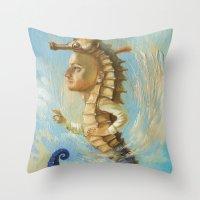 sea horse Throw Pillows featuring Sea horse by Nataliya Derevyanko