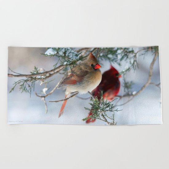 Shining on Her Own (Cardinal) Beach Towel