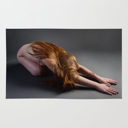1727-PDJ Nude Redhead Bowing Down Hands Out Rug