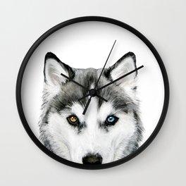 Siberian Husky dog with two eye color Dog illustration original painting print Wall Clock