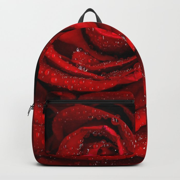 Red rose with sparkling droplets- Beautiful elegant Roses Backpack