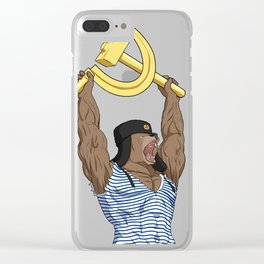 Russian Bear with Soviet Sickle and Hammer Sign  Clear iPhone Case