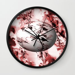 Silhouette of songbird on a branch in burgundy tone variation #decor #society6 Wall Clock