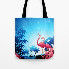 Pink Flamingos on Blue Tropical Landscape Tote Bag