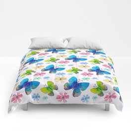 Watercolor Abstract Butterflies Pattern Comforters