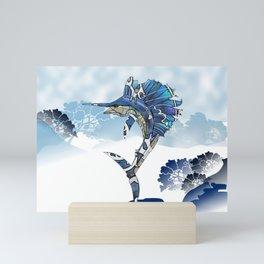 blue marlin fish art wall hanging, home deco Mini Art Print