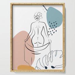 Woman's Back Print Female Body Art, One Line Drawing, Female Nude Art, Erotic Minimal Art Print Serving Tray