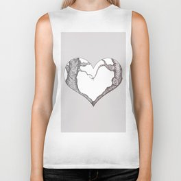 Two Trees in Love Sweetheart Valentine Illustration Biker Tank