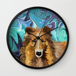 The Inquisitive Collie of the Psychedelic Dog Parade Wall Clock