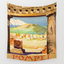 Vintage Pompei Italy Travel Wall Tapestry