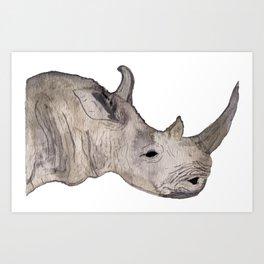 Watercolor Rhino Art Print