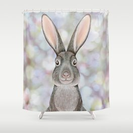 rabbit woodland animal portrait Shower Curtain