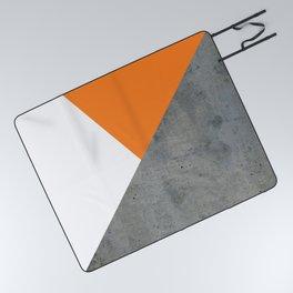 Concrete Tangerine White Picnic Blanket