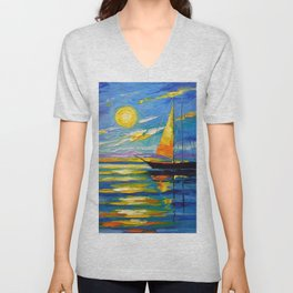 Sailboat at sunset Unisex V-Neck