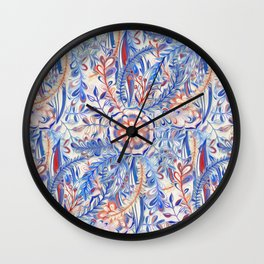 Boho Flower Burst in Red and Blue Wall Clock