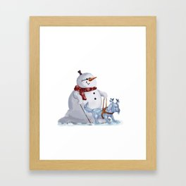 Frostie the blind snowman Framed Art Print