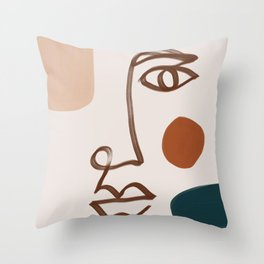 Face Line Art-Abstract Shape Composition Throw Pillow