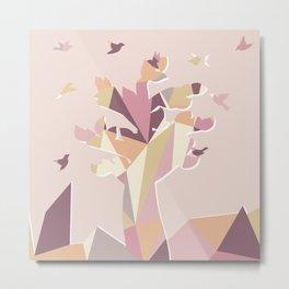 Geometric Tree Rose Gold Color Metal Print