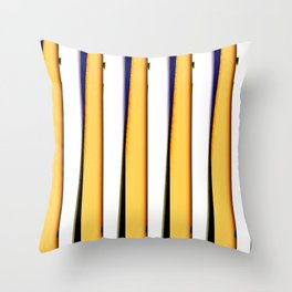 yellow blue white stripes Throw Pillow