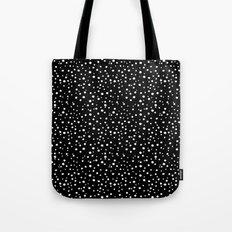 PolkaDots-White on Black Tote Bag