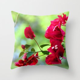 Ruby Blooms Throw Pillow