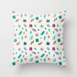 Watercolor Cristals and shells Sometimes later becomes never typography Throw Pillow