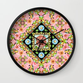 Cottage Pink Pansy Wall Clock