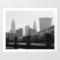 cleveland Art Prints featuring Cleveland Skyline  by TiffanyOneillPhotography
