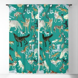 Wolves of the World green pattern Blackout Curtain