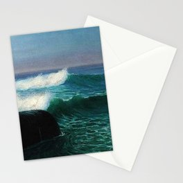 Surf at Twilight, ocean blue landscape painting by by D. Howard Hitchcock Stationery Cards