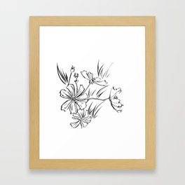 Cosmos Flowers Ink Drawing Framed Art Print