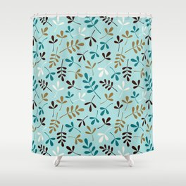 Assorted Leaf Silhouettes Teals Cream Brown Gold Ptn Shower Curtain