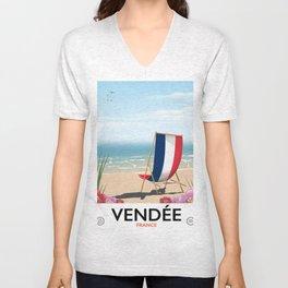 Vendée France vintage travelp oster Unisex V-Neck