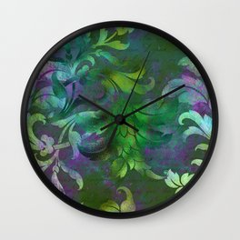 Jungle Floral Neck Gator Green and Purple Jungle Flowers Wall Clock