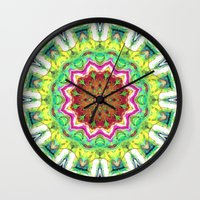 lime green Wall Clocks featuring Lime Green Citrus Abstract by Phil Perkins