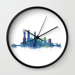 NY New York City Skyline NYC Watercolor art Wall Clock