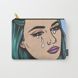 Teal Crying Comic Girl Carry-All Pouch