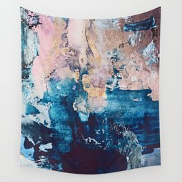 Breathe Again: a vibrant mixed-media piece in blues pinks and gold by Alyssa Hamilton Art Wall Tapestry