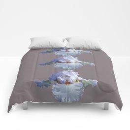 SNOW WHITE SPRING IRIS  GREY MONTAGE Comforters