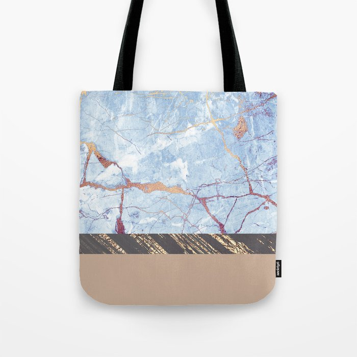 Textured Color Block - Blue & Brown - Marble & Gold Tote Bag