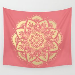 Coral Pink and Gold Flower Mandala Wall Tapestry