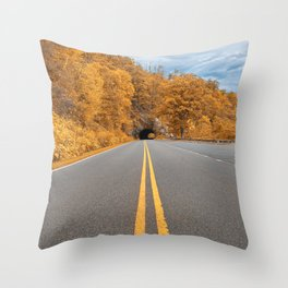 Shenandoah Skyline Drive - Autumn Gold Throw Pillow