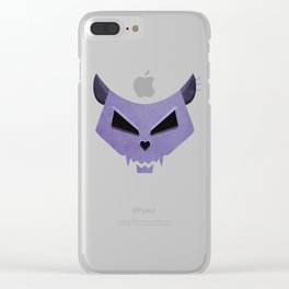 Purple Funny Evil Cat Skull Clear iPhone Case